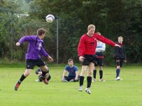 Mark Ammonds wins a header in the home meeting with Sennybridge