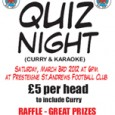 Just a quick reminder that this Saturday night there will be a Quiz, Karaoke and Curry night at the clubhouse immediately after the Reserves' home match against Bronllys. Events are...